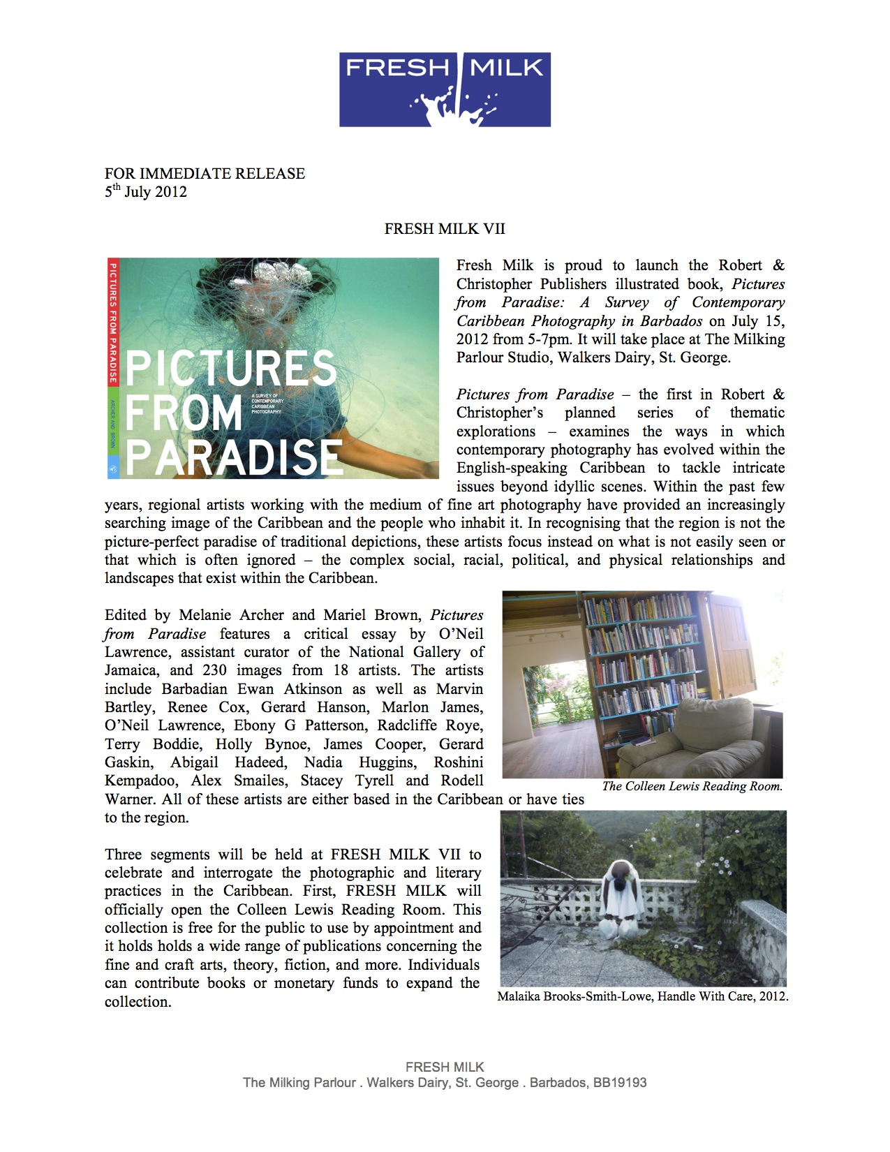 """Fresh Milk: Book Launch of """"Pictures from Paradise—A Survey of ..."""