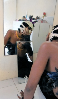 Still shot from Shanika Grimes' first performance 'Kitty'