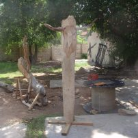 A sculpture on the grounds of the IBB