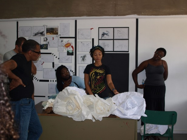 The IBB Team viewing the work of 2nd and 3rd year BFA students at BCC