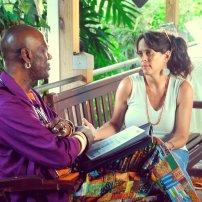 Annalee Davis in conversation with visiting professor from Northern Kentucky University, Daryl Harris