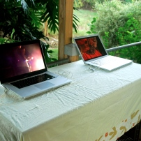 Videos by Alberta Whittle and Anna Christina Lorenzen on display before the presentation began
