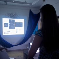Anna Christina Lorenzen giving a presentation on her work