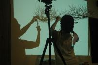 Malaika filming in the studio