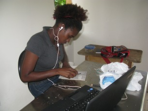 Versia Harris working in the studio