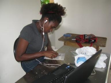Versia Harris working in the studio