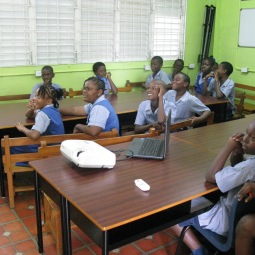 The Class 4 students at Workman's Primary School watching Versia's animation
