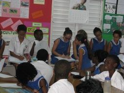 The J4 students enjoying the drawing exercise Versia set them