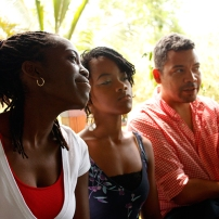 Barbadian artists Janelle Griffith, Shanika Grimes and Ewan Atkinson at Fresh Milk's presentation for the e-CREATE Symposium 2013