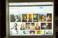 Examples of Cindy Sherman's photography being shown to the students during the workshop