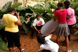 Students from the Graydon Sealy Secondary School at Fresh Milk for a photography workshop with Mark