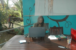 Kupakwashe at work on the deck