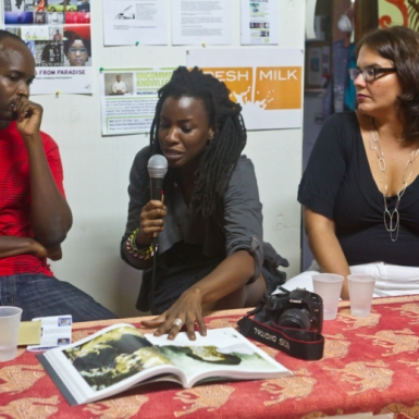 (L-R) Professor Aaron Kamugisha in conversation with editors of Pictures from Paradise, Melanie Archer and Mariel Brown