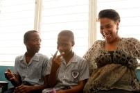 Sasha and two students