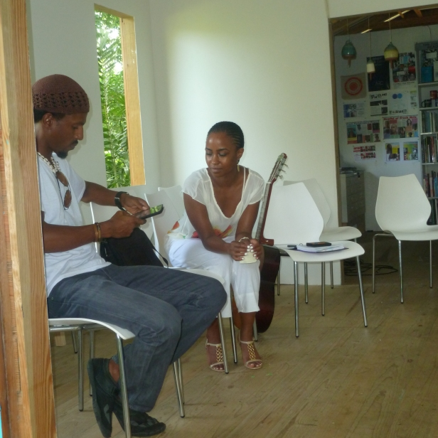 Barbadian spoken word artist Adrian Green and Shea Rose