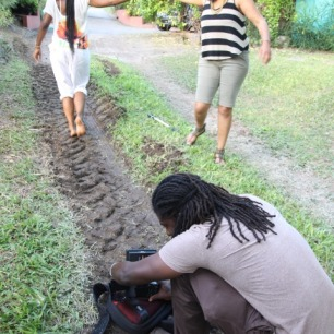 Barbadian filmmaker Sky Larc working with Shea and Sasha