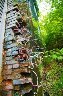 Katherine Kennedy - Stalks installed on a brick wall