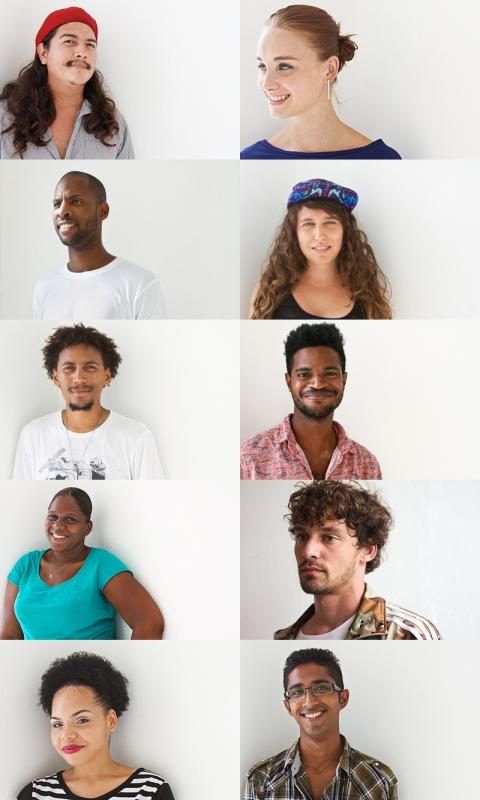 Caribbean Linked II artists- top to bottom, left to right: Germille Geerman, Robin de Vogel, Mark King, Sofia Maldonado, Omar Kuwas, Rodell Warner, Shirley Rufin, Kevin Schuit, Veronica Dorsett and Dhiradj Ramsamoedj. Image by Mark King.