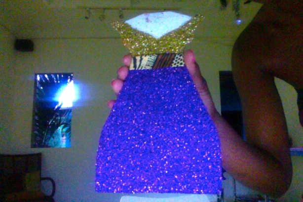 Damali's glitter covered dress