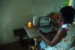 Damali Abrams working in the studio