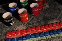 On sale at FRESH MILK XIII - our popular Fresh Milk mugs and newly available Fresh Milk buttons