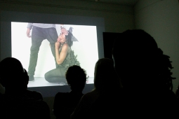 Screening damali abrams' documentary Fresh Performance: Contemporary Performance Art in NYC & the Caribbean. Photograph by Mark King.