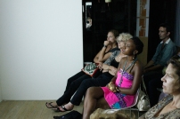 Watching damali abrams' documentary Fresh Performance: Contemporary Performance Art in NYC & the Caribbean. Photograph by Mark King.
