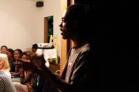 Audience member responding the the Fresh Performance documentary