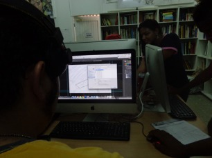 IBB students learning animation techniques from Versia Harris