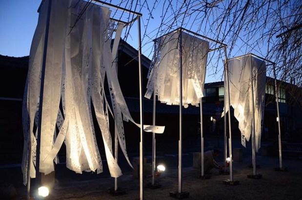 Marlon Griffith, 2012, Kawa no ji, Japanese washi, dimensions variable. Installed at Mino, Gifu, Japan. Image courtesy of the artist.