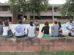Mural painting workshop led by David Bade with BCC students.