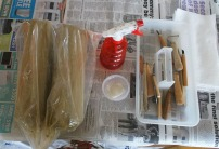Clay and tools.