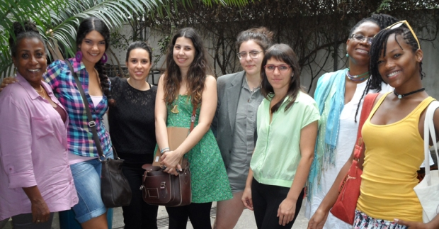 From left to right: Alison Sealy-Smith (NCF), Katherine Kennedy (Fresh Milk), Thereza Farkas (Videobrasil), Diandra Martins (Casa Tomada), Flora Leite (Brazilian artist), Tainá Azeredo (Casa Tomada), Andrea Wells (NCF), Shanika Grimes (Barbadian artist) in Sao Paulo for the 'fresh casa' project - Photo by Simone Codrington
