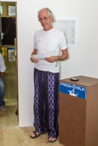 British-Barbadian artist Nick Whittle delivering his presentation. Photo by Dondré Trotman.
