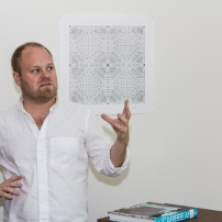 Chief curator at the Pérez Art Museum Miami, Tobias Ostrander, giving his presentation. Photo by Dondré Trotman.