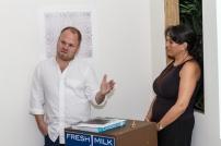 Chief curator at the Pérez Art Museum Miami, Tobias Ostrander, and Fresh Milk Director Annalee Davis. Photo by Dondré Trotman.