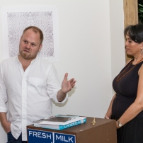 Chief curator at the Pérez Art Museum Miami, Tobias Ostrander, and Fresh Milk Director Annalee Davis. Photo by Dondré Trotman.
