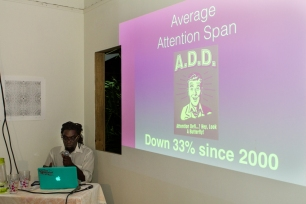 McLean Greaves giving his presentation. Photograph by Dondré Trotman.