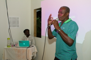 McLean's Uncle Leonard performing for the audience. Photograph by Dondré Trotman.