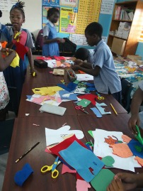 The children working on their puppets.