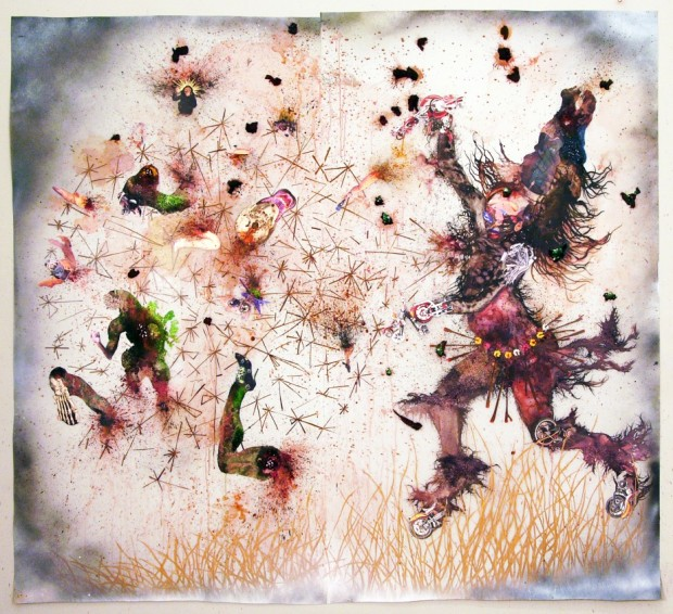 "Wangechi Mutu, Try Dismantling the Little Empire Inside You, Ink, Mylar, pigment, photocollage with mixed media on Mylar and wall, 95 1/2 x 104"", 2007"