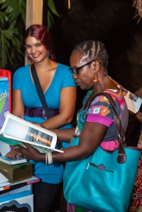 Katherine Kennedy (left) assisting at FRESH MILK XVI - Photo by Dondré Trotman.