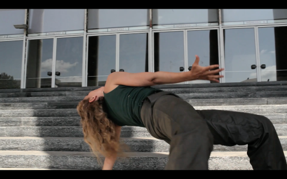 Film still: Contemporary dancer Maria Concetta Borgese in 'Bifurcating Futures', directed by Maj Hasager.