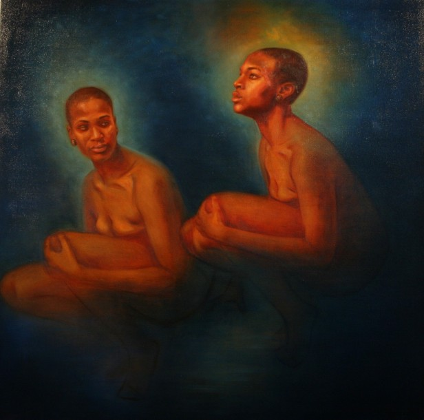 "Jordan Clarke, Water Spirit, oil on canvas 48""x 48"", 2013."