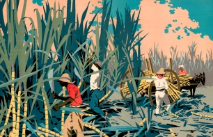 """""""Reaping Sugar-Canes in the West Indies"""", Frank Newbould, 1928, Empire Marketing Board."""
