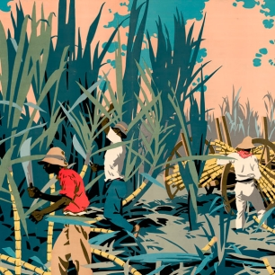 """Reaping Sugar-Canes in the West Indies"", Frank Newbould, 1928, Empire Marketing Board."