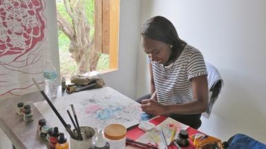 Simone Asia at work in the Fresh Milk Studio