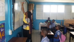 Thais Francis leading a performance workshop at Workmans Primary School