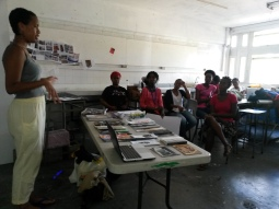 Rayanne Bushell conducting a zine making workshop at BCC