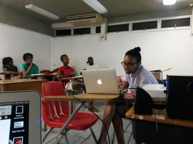 Nadijah Robinson presenting her work at BCC